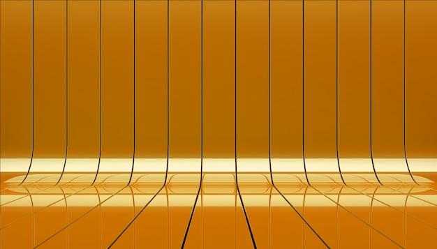 Oranje linten podium 3d illustratie.