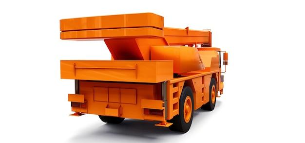 Oranje mobiele kraan. driedimensionale afbeelding. 3d-rendering.