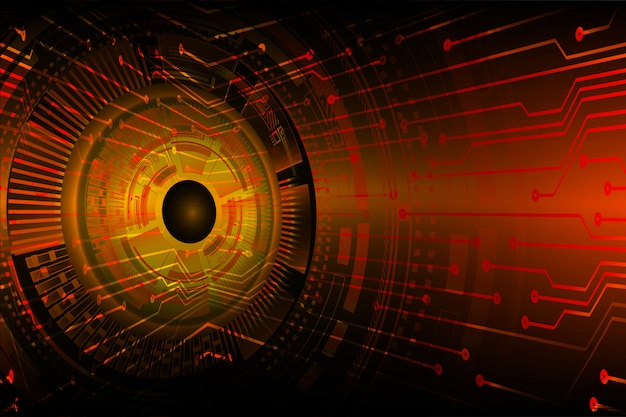 Oranje oog cyber circuit toekomst technologie concept achtergrond