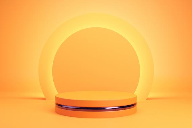 Oranje podium en achtergrond voor halloween, geometrische vorm.