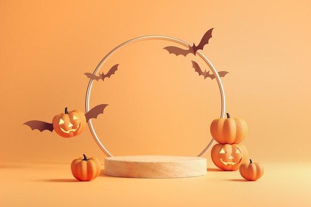 Oranje podiumachtergrond voor product halloween.