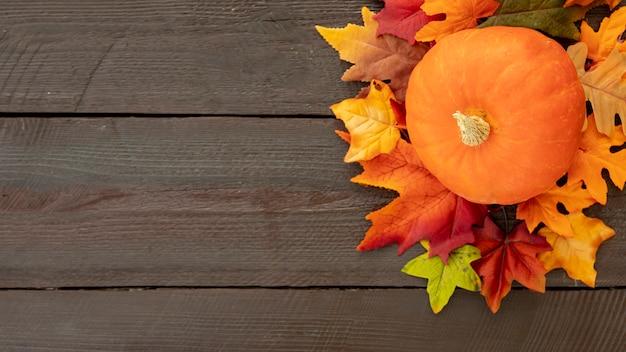 Oranje pompoen op kleurrijke bladeren met kopie ruimte
