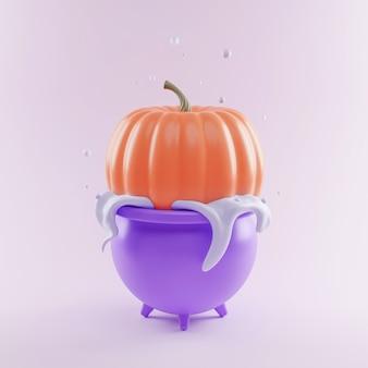 Oranje pompoen wordt gekookt in een paarse ketel in het water, concept voor de vakantie helloween, 3d illustratie, render