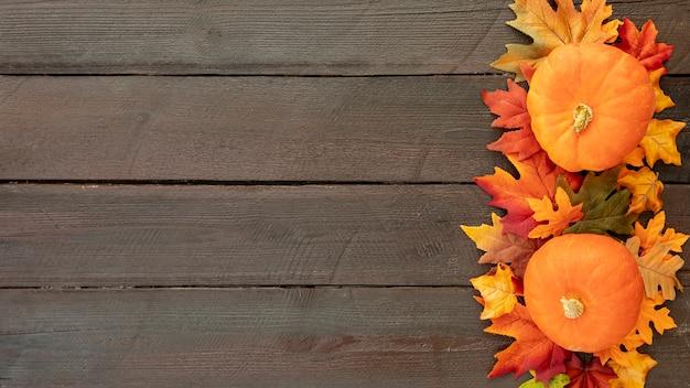 Oranje pompoenen op kleurrijke bladeren met exemplaarruimte