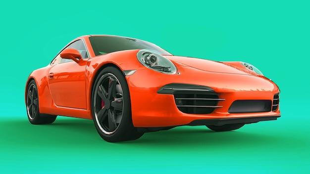 Oranje porsche 911 driedimensionale rasterillustratie op een groene achtergrond. 3d-rendering.