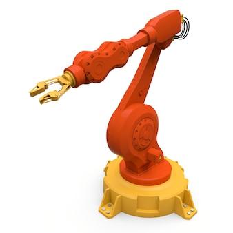 Oranje robotarm voor elk werk in een fabriek of productie