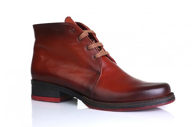 Oranje rode lederen schoenen heren dames
