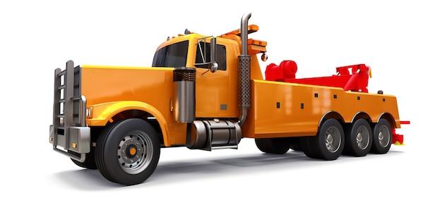 Oranje sleepwagen om andere grote vrachtwagens of verschillende zware machines te vervoeren. 3d-weergave.