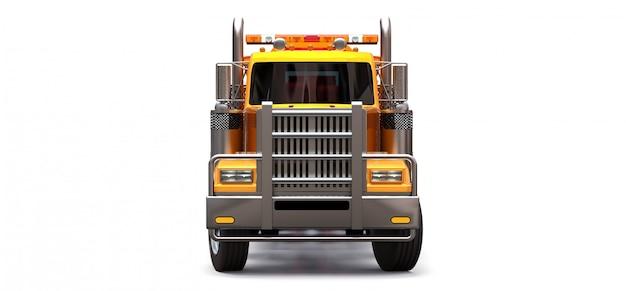 Oranje sleepwagen voor het vervoer van andere grote vrachtwagens of diverse zware machines