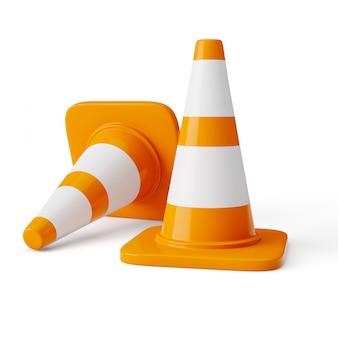 Oranje snelweg verkeersconstructie kegels