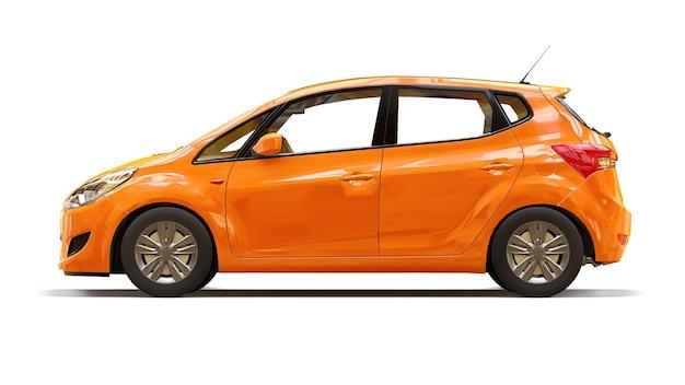 Oranje stadsauto met blanco oppervlak voor uw creatieve ontwerp. 3d-weergave.