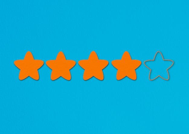 Oranje sterrenclassificatie op blauw