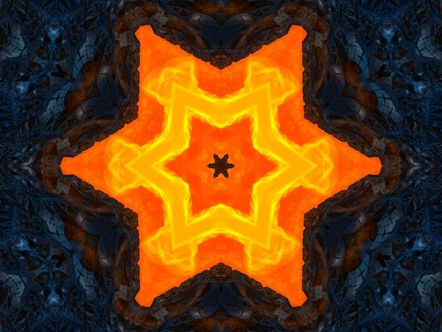Oranje stralensterren op zwarte retro geweven patroonjaren '70. abstracte unieke caleidoscoopachtergrond. mooi caleidoscoop naadloos patroon. naadloze caleidoscoop textuur.
