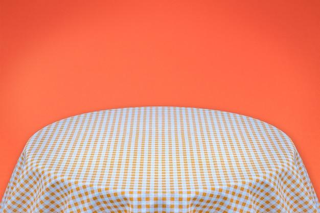 Oranje tafelkleed met oranje achtergrond. achtergrond voor platte tekst of producten