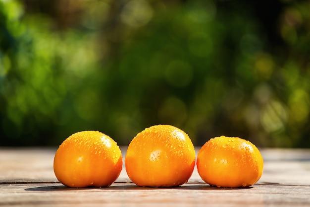 Oranje tomaten op de tafel op een groene achtergrond