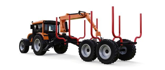 Oranje trekker met een aanhanger voor het inloggen op een witte achtergrond. 3d-rendering.