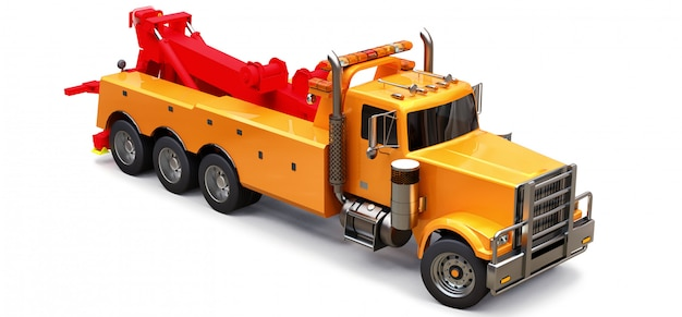 Oranje vrachtsleepwagen om andere grote vrachtwagens te vervoeren