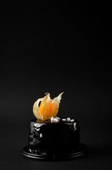 Organische diepe donkere chocoladecake die met physalis op zwarte achtergrond wordt verfraaid