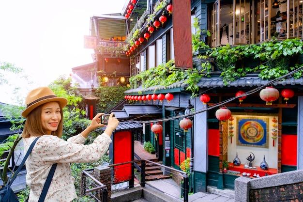 Oriëntatiepunt van de jiefen het beroemde oude stad in keelung taiwan.