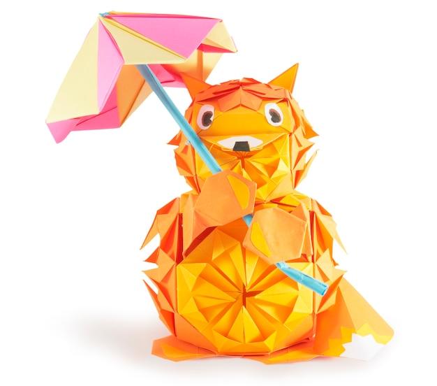 Origami vos figuur met paraplu