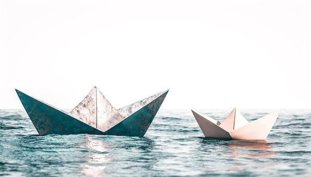 Origamiboten van papier en metaal op water. 3d render
