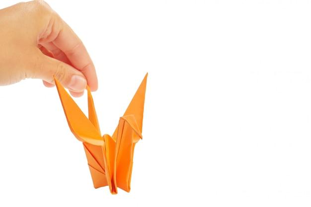 Origamikraan op witte achtergrond