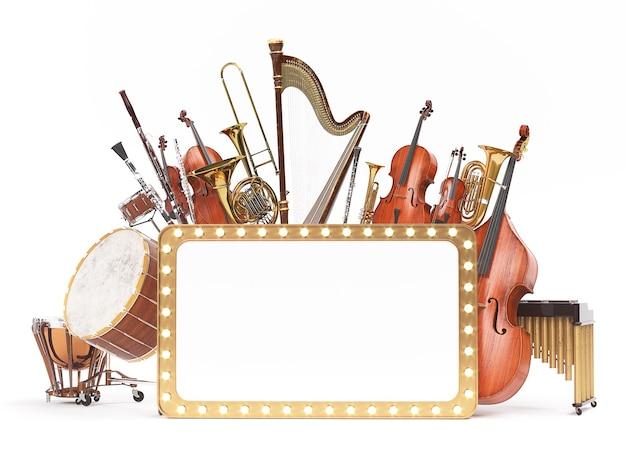 Orkest muziekinstrumenten d rendering