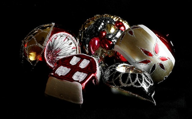 Ornamenten decoratie breekbaar glas antiek kerst