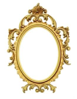 Oud antiek gouden frame op witte achtergrond