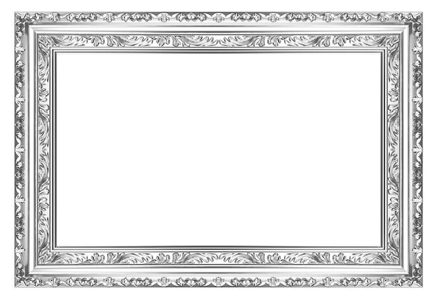 Oud antiek zilver frame op witte achtergrond