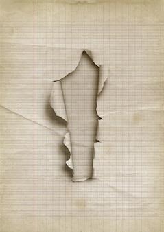 Oud bekleed gescheurd papier met gat.
