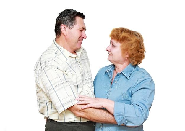 Oud echtpaar, gepensioneerden. geïsoleerd over wit