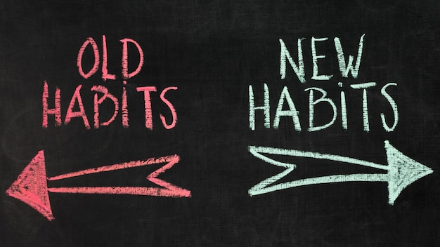 Oud en nieuw gewoontenconcept