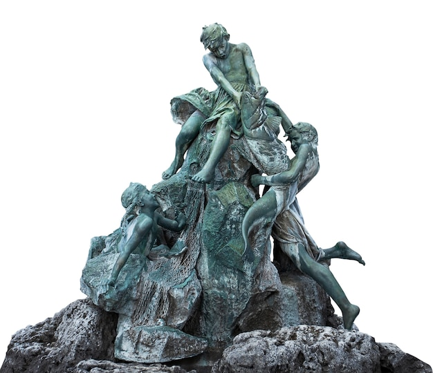 Oud fonteinmonument in boedapest. hongarije