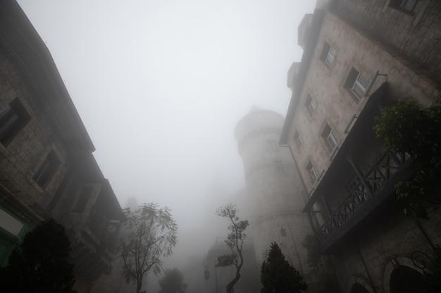 Oud gebouw in het dorp in de mist