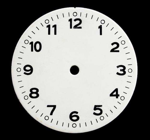 Oud gezicht van de klok op een zwarte