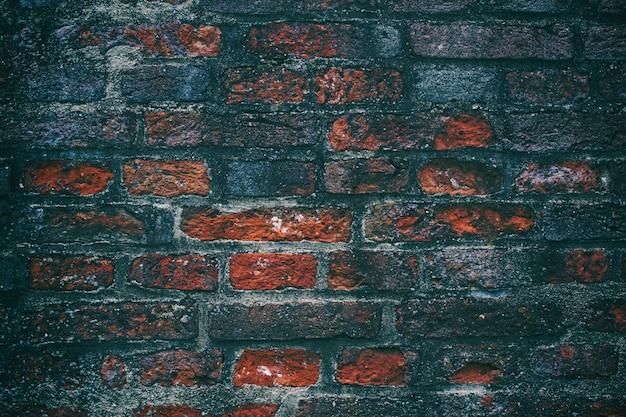 Oud grungebinnenland met bakstenen muur