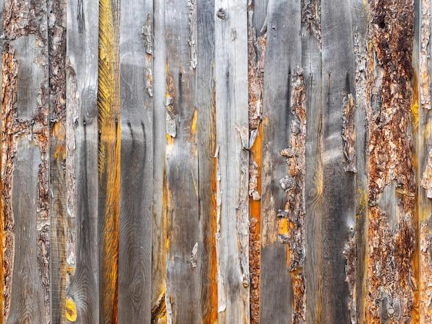 Oud houten omheiningsclose-up, copyspace.