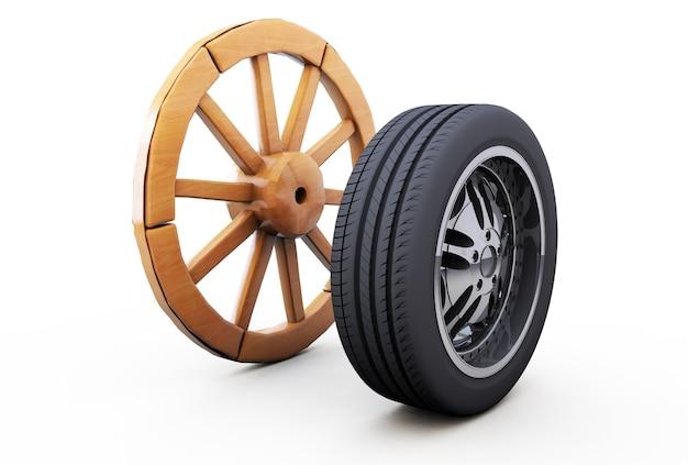 Oud houten wiel en een moderne auto, het idee van ontwikkeling en verbetering. 3d-rendering op witte achtergrond.