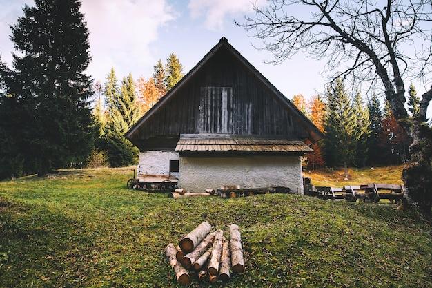 Oud huis in het herfstbos. houten huisje in de vallei. huiselijk plattelandsleven in slovenië. triglav nationaal park