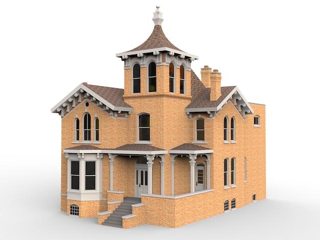 Oud huis in victoriaanse stijl. 3d-weergave