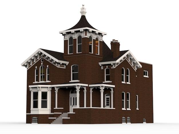 Oud huis in victoriaanse stijl. illustratie op witte achtergrond. soorten van verschillende kanten. 3d-weergave.