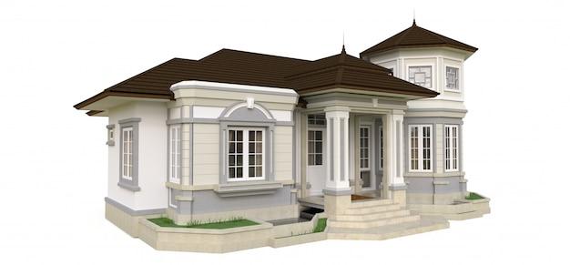 Oud huis in victoriaanse stijl. illustratie op witte achtergrond. soorten van verschillende kanten. 3d-weergave