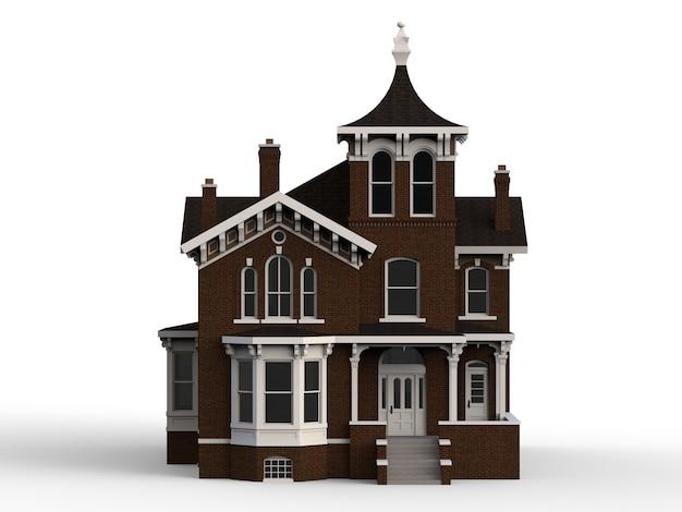 Oud huis in victoriaanse stijl. illustratie op witte achtergrond. soorten van verschillende kanten