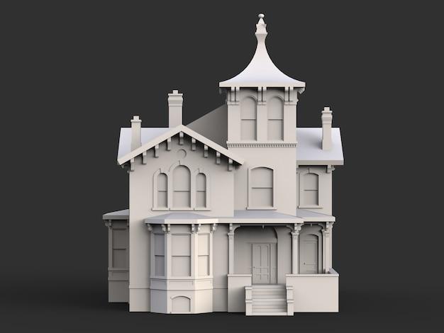 Oud huis in victoriaanse stijl. illustratie op zwart oppervlak. soorten van verschillende kanten