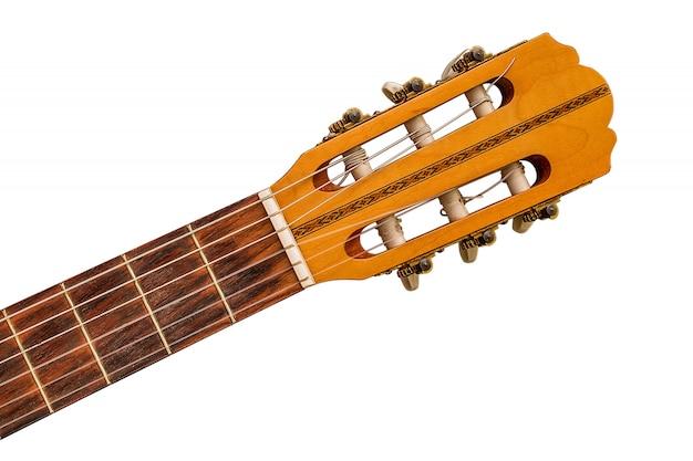 Oud klassiek gitaar dicht omhooggaand detail