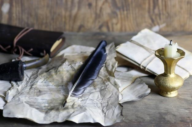 Oud papier brief veer