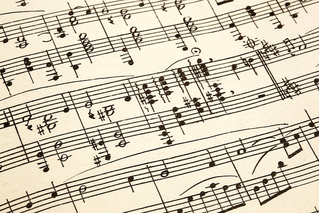 Oud papier met vintage bladmuziek
