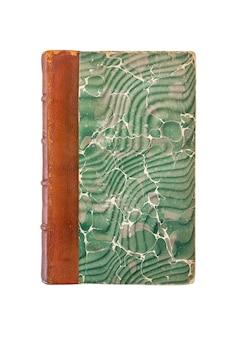 Oud uitstekend boek dat op witte achtergrond wordt geïsoleerd