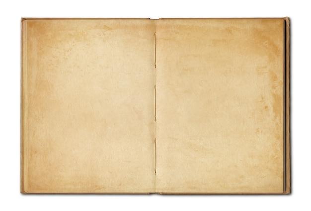 Oud uitstekend open boek dat op witte achtergrond wordt geïsoleerd